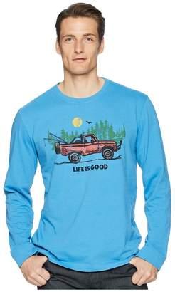 Life is Good Fishing Truck Long Sleeve Crusher Tee Men's T Shirt