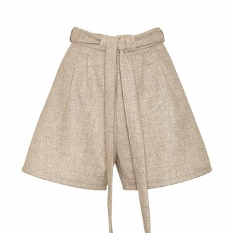 BEIGE Bo Carter Doralis Wool Shorts