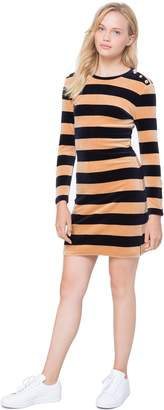 Juicy Couture Striped Stretch Velour Fitted Dress