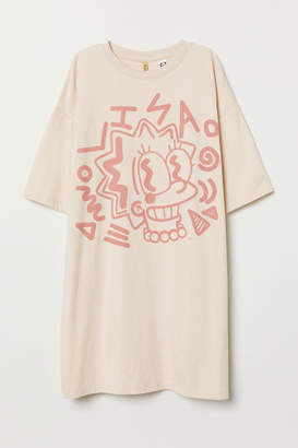 H&M Oversized Printed T-shirt - Beige