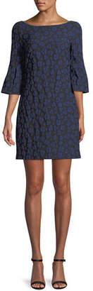Badgley Mischka Bell-Sleeve Floral Stretch Dress