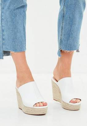 Missguided White Faux Leather Espadrille Wedge Heeled Sandals
