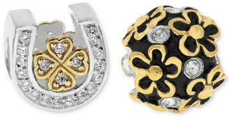 Rhona Sutton Two-Tone 2-Pc. Set Cubic Zirconia Lucky Horseshoe & Flower Bead Charms in Sterling Silver