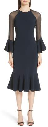 Sachin + Babi Sheer Ruffle Sleeve Cocktail Dress