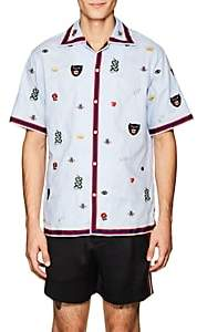 Gucci Men's Embroidered Cotton Bowling Shirt - Lt. Blue