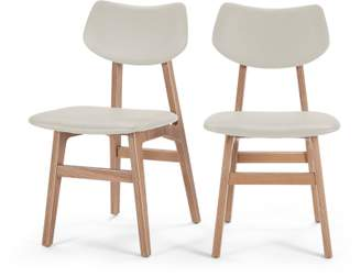 Ash Set of 2 Jacob Dining Chairs, Alabaster and