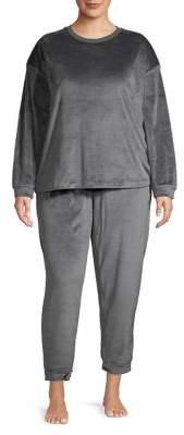 Lord & Taylor Plus Two-Piece Fleece Pajama Set