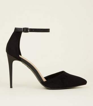 New Look Black Suedette Faux Snakeskin Strap Pointed Court Shoes