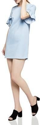 BCBGeneration Ruffle-Sleeve Denim Shift Dress