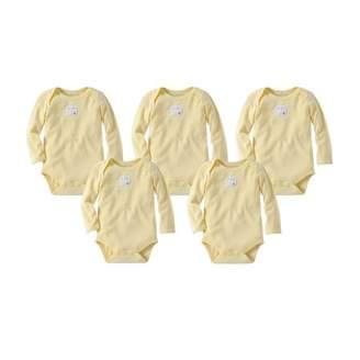 Burt's Bees Baby Organic Solid Long Sleeve Bodysuits, 6M, Sunshine 5 Ct