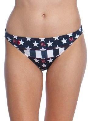 Polo Ralph Lauren Flag-Print Seamed Hipster Bikini Bottom