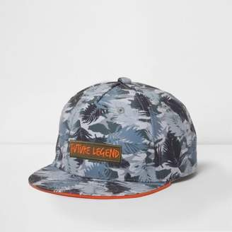 River Island Mini boys khaki tropical flat peak cap