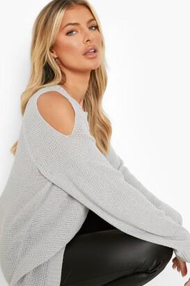 boohoo Cold Shoulder Moss Stitch Sweater