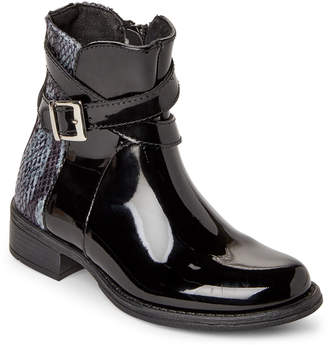 Lyard (Kids Girls) Black & Grey Helly Patent Ankle Boots