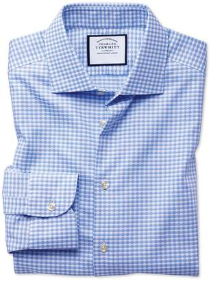 Charles Tyrwhitt Extra Slim Fit Business Casual Non-Iron Modern Textures Sky Blue Dogtooth Cotton Dress Shirt Single Cuff Size 14.5/32