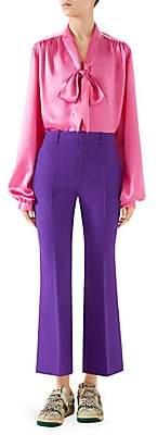 Gucci Women's Silk Satin Tie-Neck Blouse