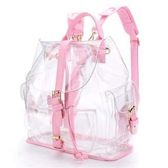 clear Online Women Girls Plastic Transparent Backpack School Travel Hiking Bag Satchel