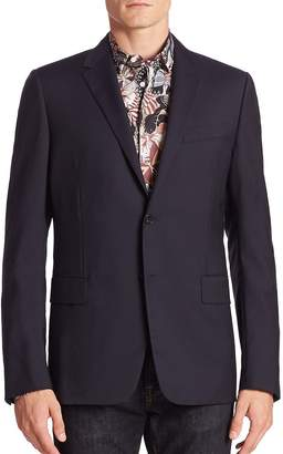 Valentino Men's Contrast Pipe Wool-Blend Blazer