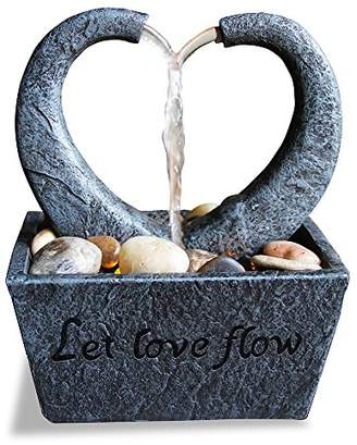 Natures Mark Flowing Heart LED Relaxation Water Fountain with Authentic River Rocks 10064