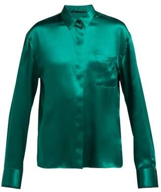 fbd6ab1f Haider Ackermann Lustrous Soutache Silk Blouse - Womens - Dark Green