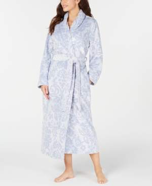 Charter Club Women's Scroll Plush Long Robe, Created for Macy's