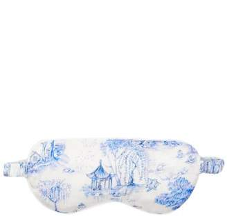 Derek Rose Brindisi 27 Reversible Silk Satin Eye Mask - Womens - Blue Print