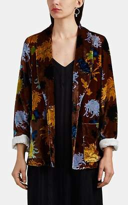 Raquel Allegra Women's Floral Velvet One-Button Blazer
