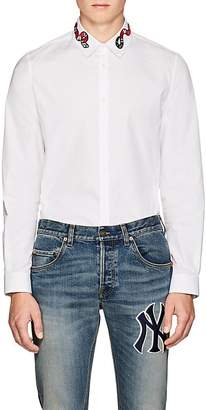 Gucci Men's Snake-Embroidered Cotton Poplin Shirt