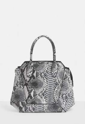 Missguided Grey Snake Handbag