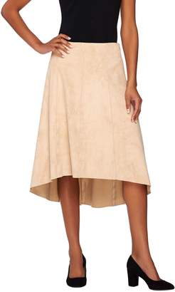 Halston H By H by Faux Suede Gored Skirt with Hi-Low Hem