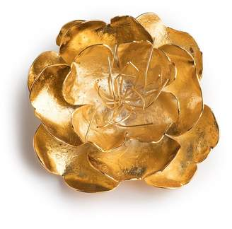 Josie Natori Gold Brass Small Peony Brooch