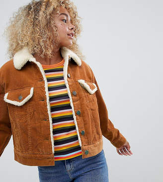 Asos DESIGN Petite cord jacket with fleece collar in rust