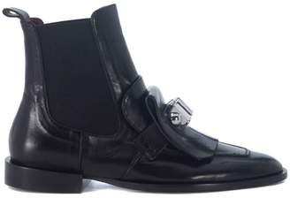 Carven Black Leather Ankle Boots With Front Leather And Metal Details.