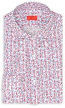 Isaia Regular-Fit Floral-Print Cotton Dress Shirt