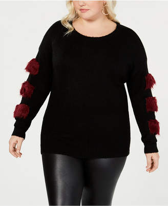 Say What Trendy Plus Size Faux-Fur Trim Sweater