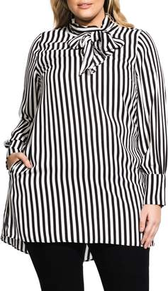 City Chic Stripe Tie Neck Tunic