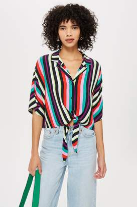 Topshop Womens Beach Stripe Shirt - Multi