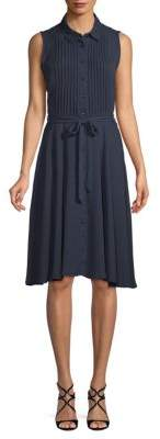 Pleated Belted Dress