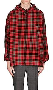 Balenciaga Men's Plaid Cotton Flannel Hooded Shirt - Red