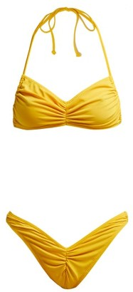 Norma Kamali Butterfly Ruched Bandeau Bikini - Womens - Yellow