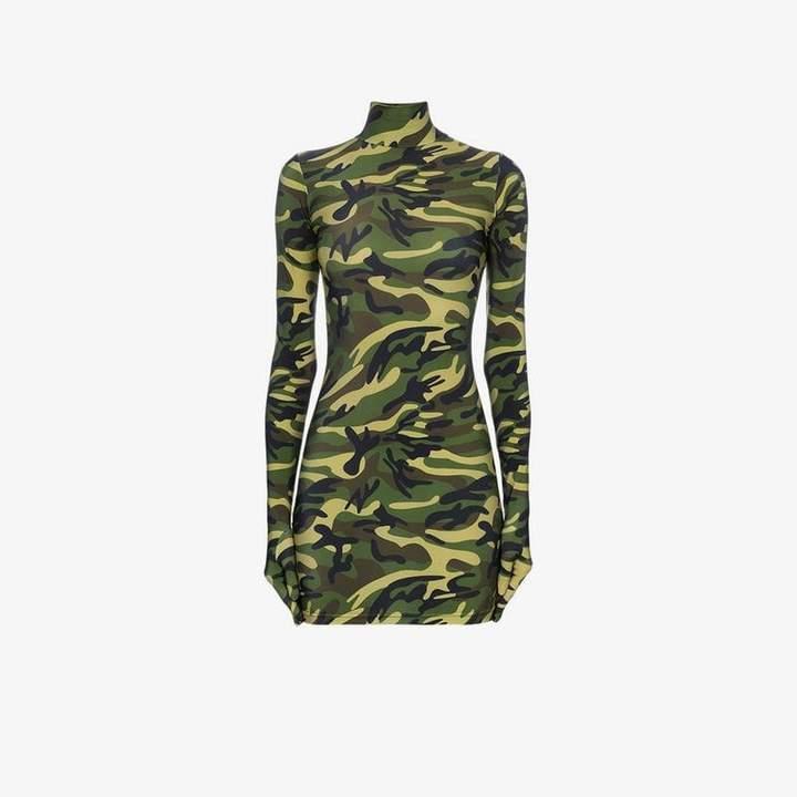 camouflage print glove mini dress