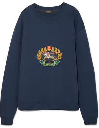 Burberry Embroidered Cotton-blend Jersey Sweatshirt - Navy