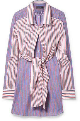 Y/Project Layered Striped Cotton And Linen-blend Mini Dress