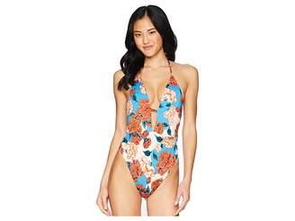 Bikini Lab THE Spanish Bloom Plunge One-Piece Swimsuit