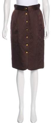 Chanel Quilted Knee-Length Skirt Brown Quilted Knee-Length Skirt