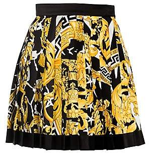 Versace Women's Savage Baroque Pleated Mini Skirt