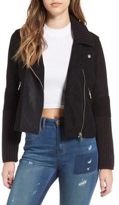 Women's Blanknyc Faux Suede & Knit Moto Jacket $128 thestylecure.com