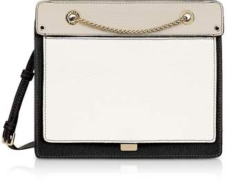 Furla Like Small Color Block Leather Crossbody Bag w/Chain Strap