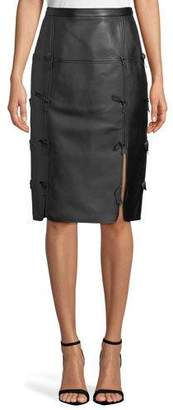 Escada Bow-Seam Leather Midi Skirt