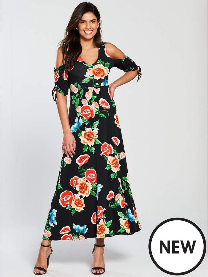 Petite Cold Shoulder Ruched Sleeve Jersey Maxi Dress